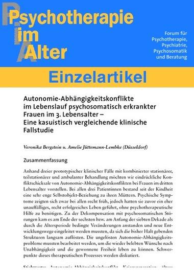 Autonomie Abhängigkeitskonflikte Im Lebenslauf Psychosomatisch
