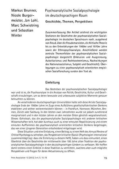 Psychoanalytische Sozialpsychologie Im Deutschsprachigen Raum