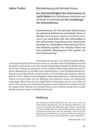 Wahrnehmung Und Antisemitismus Zur Anschlussfähigkeit Des