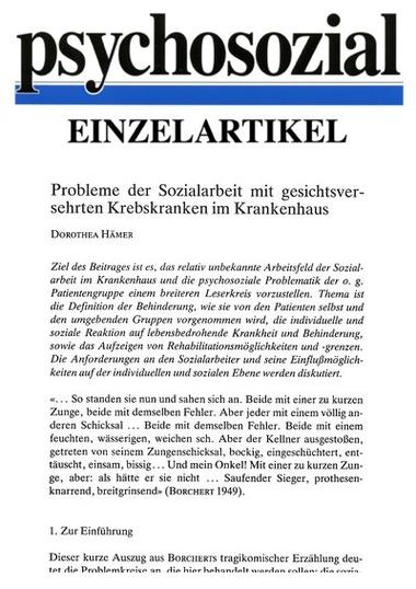 Probleme der Sozialarbeit mit gesichtsversehrten Krebskranken im ...