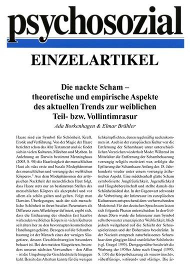 Die Nackte Scham Theoretische Und Empirische Aspekte Des Aktuellen Trends Zur Weiblichen Teil Bzw Vollintimrasur Pdf E Book Psychosozial Verlag