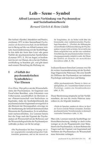 Leib - Szene - Symbol. Alfred Lorenzers Verbindung von Psychoanalyse ...