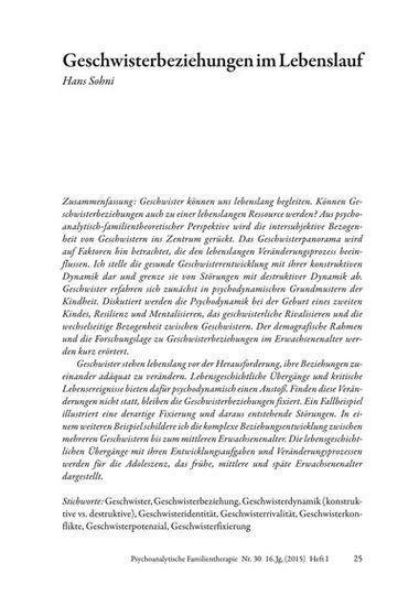 Geschwisterbeziehungen Im Lebenslauf Pdf E Book Psychosozial Verlag