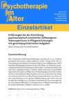 Erfahrungen bei der Einrichtung psychoanalytisch orientierter, fallbezogener Teamsupervision in Pflegeeinrichtungen mit gerontopsychiatrischen Aufgaben (PDF-E-Book)